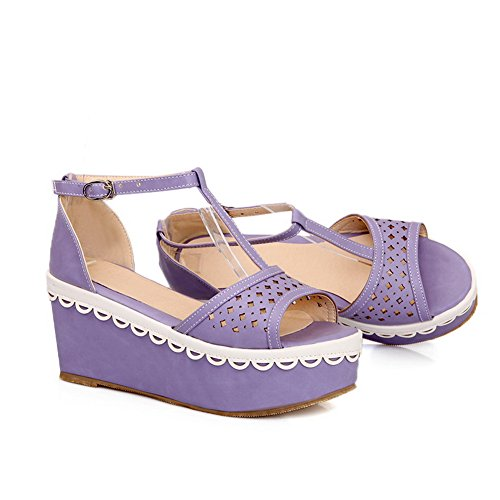 with Toe Heel Open 4 Womens Wedge Solid M Soft B Buckle Platform WeenFashion PU 5 US Material Purple Kitten Sandals EwIZ75Iq