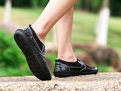 Loafers Middle Shoes Hollow Dress Black Men Mesh Breathable Femaroly Walking Age Casual Leather z56SxRwq