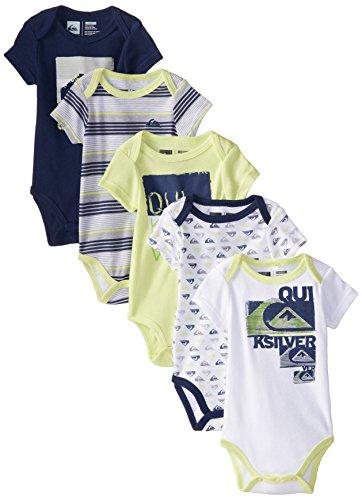3bc193de1 Quiksilver Baby-Boys Newborn 5 Pack Lime Navy White Bodysuit ...