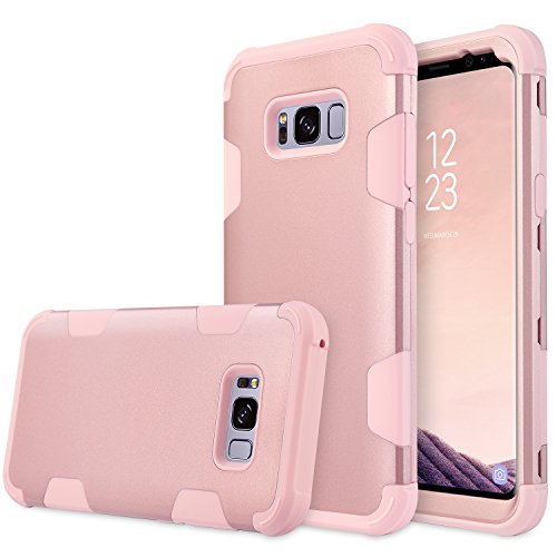 UrbanDrama Galaxy S8 Case, S8 Case 3 in 1 Shockproof Scratch Resistant Hybrid Hard PC Soft Silicone Bumper Full Body Protective Case Compatible with Galaxy S8 5.8 Inch, Rose Gold