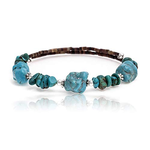 Navajo Turquoise Bracelet Jewelry - $100 Retail Tag Authentic Navajo Natural Turquoise Native American Adjustable WRAP Bracelet