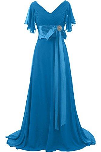 Lang Festkleid Promkleid Ivydressing Liebling Ausschnitt Aermel Schleife Kurz Abendkleid Damen Blau Mit V Steine xAxRqYw