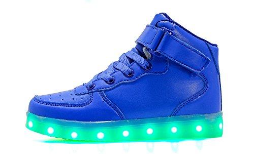 Bambino Unisex Luminosi Carica High Rojeam Blu Adulto Led Sneakers Lampeggiante Scarpe Usb top 0nzSX