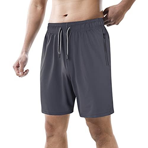 Lixada Korte broek voor heren, sportshort, sportbroek voor heren, sneldrogende hardloopshorts met ritszak, elastische…