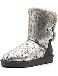 Womens Warm Winter Fashion Genuine Sheepskin Leather Ice Maiden Insulated Snow Boot