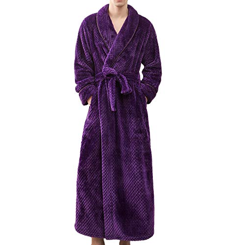 GREFER Mens Cotton Terry Cloth Bathrobe Shawl Collar Belt Spa Robe Home Clothes Purple