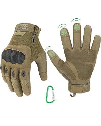 Taktische Handschuhe, Einsatzhandschuhe mit Hartem Fingergelenk und Kletterschnalle, 3-Finger-Touchscreen, Amtungsaktive…