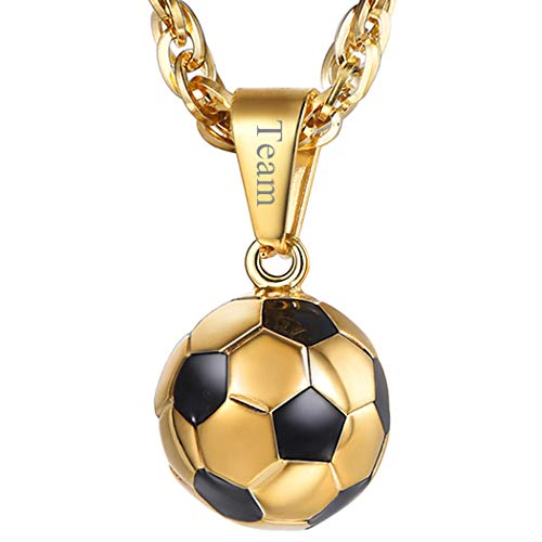 PROSTEEL Soccer Necklace Personalized Custom Name Jewelry 18K Gold Plated Mom Dad Men Women Unisex Football Player Gift Ball Pendant