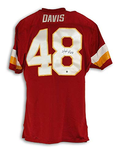 (Stephen Davis Washington Redskins Autographed Red Throwback Jersey - Certified Authentic Signature)