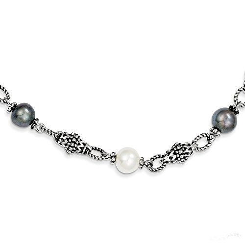 Shey Couture Sterling Silver Polished Toggle Closure Antique Finish Freshwater Cultured Black and White Pearl 18.25inch Necklace