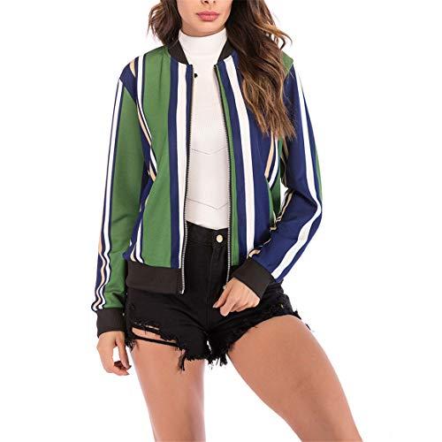 Bellelove Poches V Manches 2018 Longues Manteau en Manteau Courtes Vert Blouse pour Femmes avec Encolure Manteau pour imprim Manches Rayures 2018 Femmes rR7nrBwa