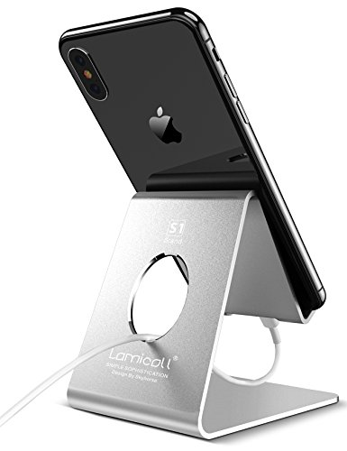 Cell Phone Stand, Lamicall iPhone stand : Cradle, Dock, Holder, Stand For Switch, all Android Smartphone, iPhone 7 6 6s 8 X Plus 5 5s 5c charging, Universal Accessories Desk - Silver