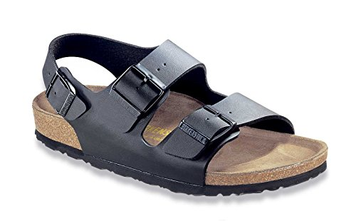 Birkenstock Unisex Milano Leather Sandals, Black, 40 ()