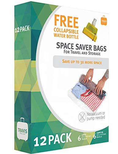 12 Travis Travel Gear Space Saver Vacuum Bags with Collapsible Water Bottle (6 Medium and 6 Large). No Pump Needed Roll Up Compression and Organizer for Storage and Luggage