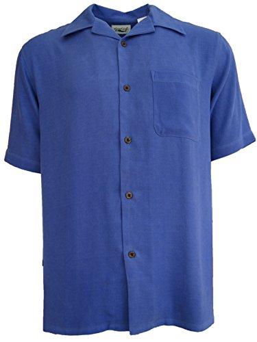 Good-Life-Mens-Silk-Camp-Shirt-Solid-Casual-Dress-Window-Pane-Blue