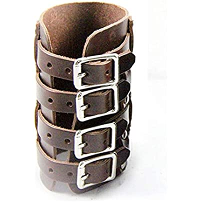 qumingchenba Personalized Leather Wrist Bracer Steampunk Punk Style Four Buckles Wristband Estimated Price £11.93 -