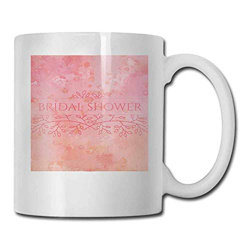 Bridal Shower Ceramic Cup Bride Invitation Grunge Abstract Backdrop Floral Design Print Beverage Pale Pink and Salmon 11oz]()