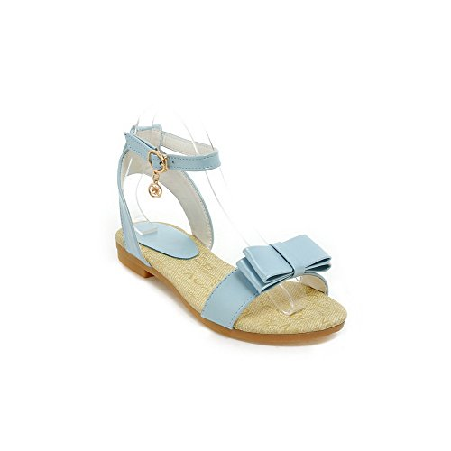 AllhqFashion Women's Low-heels Soft Material Solid Buckle Open Toe Sandals Blue ecUceg1z