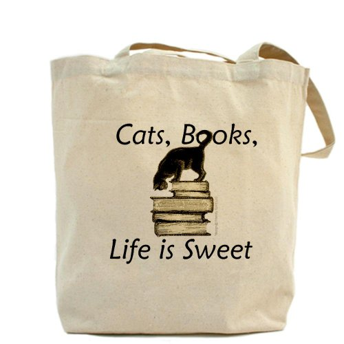 CafePress diseño de gato sobre libros–Gamuza de bolsa de lona bolsa, bolsa de la compra