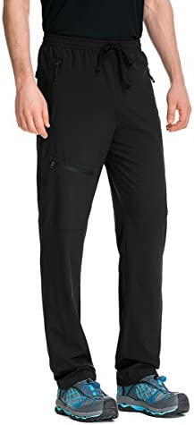 TRAILSIDE SUPPLY CO. Mens-Stretch-Workout-Lounge-Pants with 3 Zipper Pockets