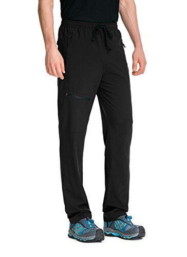 TRAILSIDE SUPPLY CO. Mens-Stretch-Workout-Lounge-Pants with 3 Zipper Pockets, Black, M