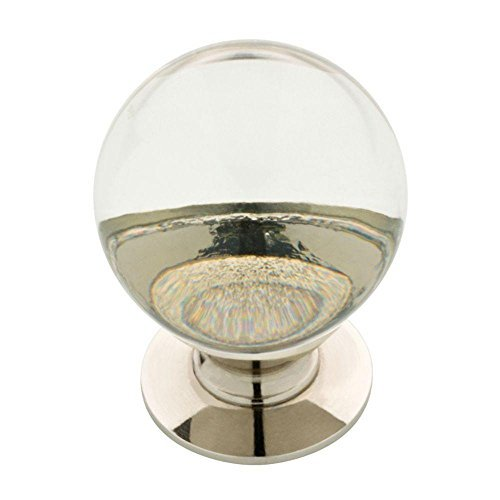 """Polished Nickel & Clear Glass Ball Knob - 1 1/4"""" (10 Pack)"""