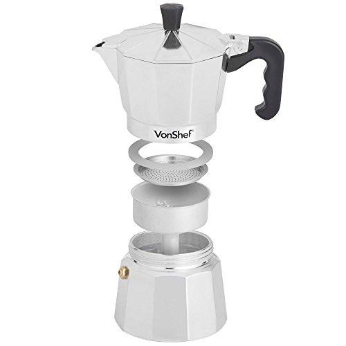 VonShef Italian Espresso Coffee Maker Stove Top Macchinetta - 3 Cup