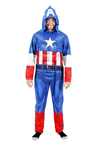 [Captain America Adult Union Suit Costume Pajama Onesie with Hood (Adult X-Large)] (Captain America Costumes For Adults)