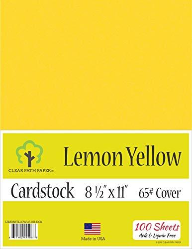 Lemon Yellow Cardstock - 8.5 x 11 inch - 65Lb Cover - 100 Sheets
