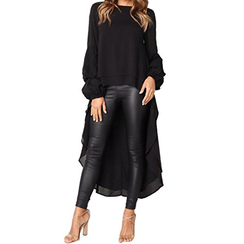 Tuxedo Front Blouse - Clearance Sale Women Pullover Sweatshirts,Vanvler Ladies Ruffled Tops -Irregular Blouse (M, Black)