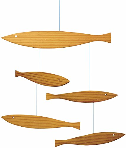 Floating Fish Hanging Mobile - 16 Inches Pine - Handmade in Denmark by ()