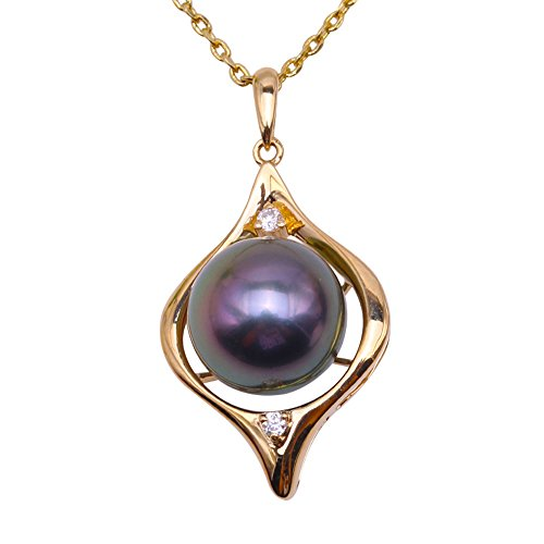 JYX Black Pearl Necklace 14K Yellow Gold 9.5mm Round Black Tahitian Pearl Pendant Necklace
