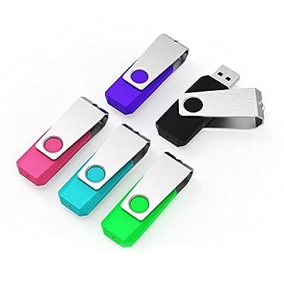 Keathy 5 Pack USB 2.0 Flash Drive Bulk Drives Memory Stick Thumb Drives Pen Drives Zip Drives from KEATHY