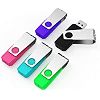 Keathy 5pcs 32GB USB 2.0 Flash Drive Memory Stick 32 gb Pen Drive (Mixed Color:Black,Blue,Green,Pink,Purple)