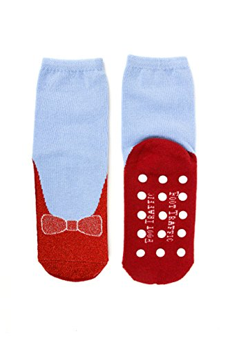 (Foot Traffic Non-skid Red Ruby Slippers/Blue Slipper Socks by Foot Traffic, Women's size 4-10)