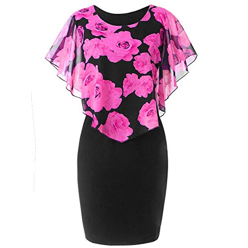 HAPPYSTORE Women Dresses Summer Plus Size Rose African Print Chiffon O-Neck Ruffles Mini Skirt (Monograms Hip Mini)