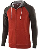 HARBETH Men's Athletic Fit Full Zip Fleece Hooded Sweatshirt Active Hoodie H.Rusty/H.Charcoal L