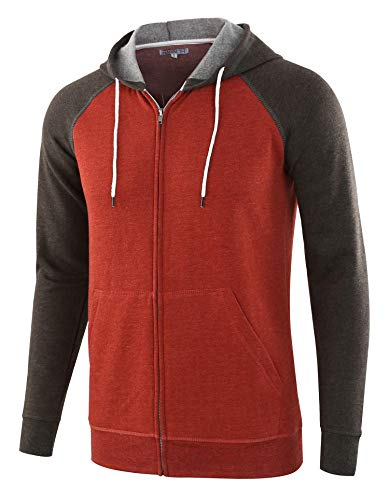 HARBETH Men's Athletic Fit Full Zip Fleece Hooded Sweatshirt Active Hoodie H.Rusty/H.Charcoal XL