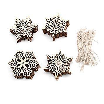40pcs Plain Snowflake Wood Embellishments Christmas Tree Decor
