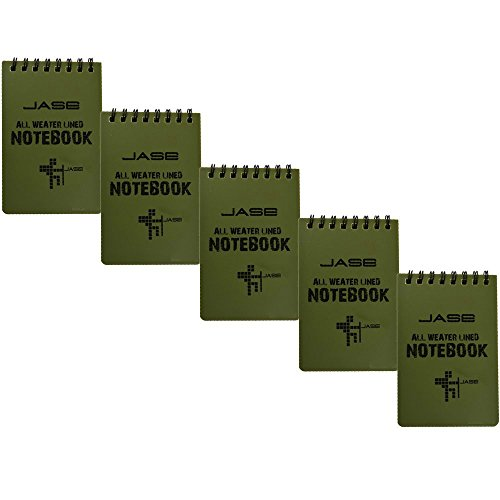Aketek All Weather Aqua Notes Notepad Notebook, 5x3 inches, Green (5-pack)