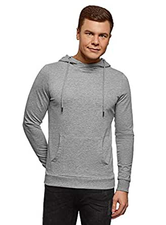 oodji Ultra Men's Basic Hoodie with Pocket - Grey - X-Small