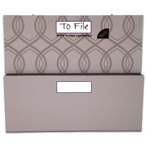 Mead Organizher Hanging Magnetic Storage Pockets, Large, 12 x 10 Inches, Gray with Geometric Accents (98135)