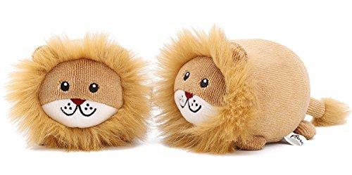 Pawaboo Squeak Plush Dog Toys, [2PACK] Stuffed Plush Pet Toys Soft Faux-fur Lion Style Pet Rattle Puppy Bite Play Chew Toys Non-toxic Plush Lion Doll, Light (Lion Bite)