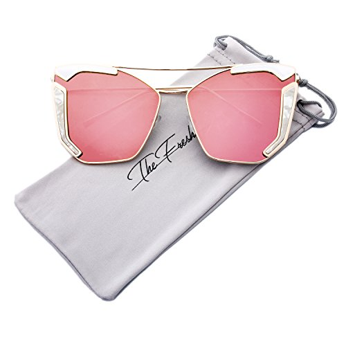 The Fresh Oversized Cat Eye Color Flat Lens Street Fashion Metal Frame Women Sunglasses (3-Gold/White, Pink Mirror) -
