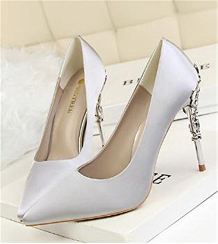 Korean Pointed Stiletto Sexy coollight with Shoes Fashion Wedding High with Shoes Shoes Gray Brief Metal Suede Carved Heel qCBzddx