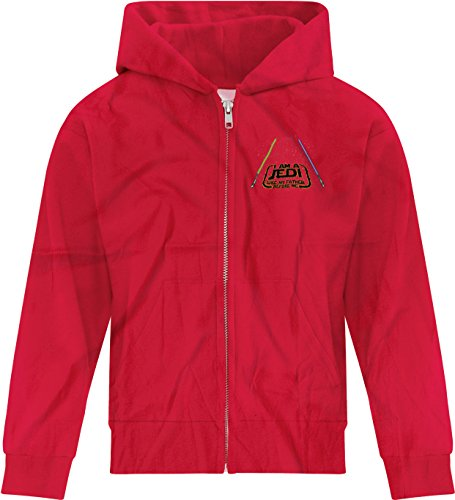 Price comparison product image BSW Girls I am a Jedi Like My Father Before Me Star Wars Saber Zip Hoodie SM Red