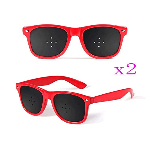 - 2PCS Adult Vision Correction Glasses Improve Naturally, Kids Pinhole Single Nose Glasses-Microporous Eyesight Protection/Prevention of Near Astigmatism/Amblyopia Eye Exercise (Color : Red)