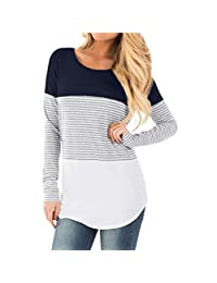 Fartido Women Pregnant Nursing Baby Maternity Long Sleeved Striped Blouse