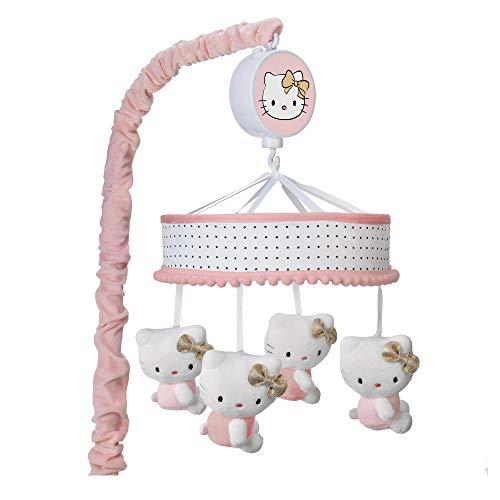 (Lambs & Ivy Hello Kitty Pink/Gold/White Musical Baby Crib)