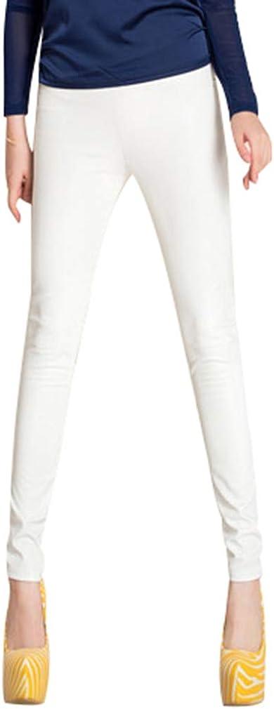 JiXuan Leggings Cuero Imitación Cintura Alta Pantalones Mujer hasta Tobillo Leggings Cuero Imitación Mujer Sexy